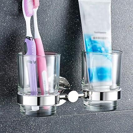 Daeou Diente de baño portavasos porta cepillo de dientes de acero inoxidable perforadas