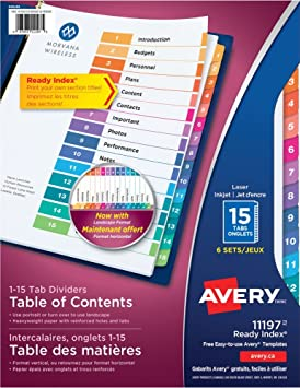 Ready Index Template | Avery Ready Index Table Of Content Dividers For Laser And Inkjet