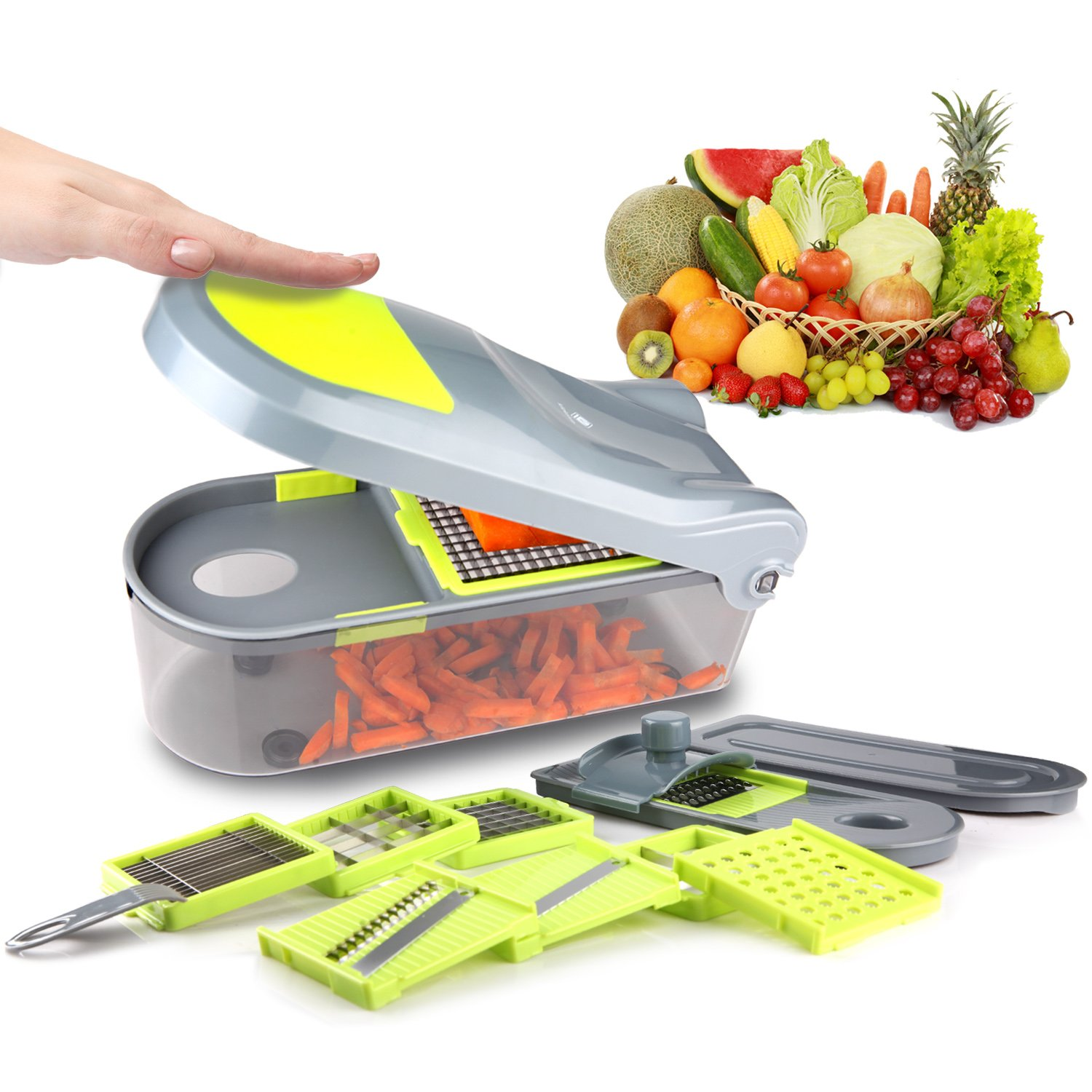 KILOKELVIN B460-A Food Cutter Slicer and Shredder - Slices and Shreds Fruits and Vegetables Chopper, Food Container, Safety Food Holder, All-in-One Vegetable Cutter Vegetable Slic LTD.