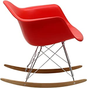 2xhome Bright Red Mid Century Modern Molded Shell Designer Plastic Rocking Chair Chairs Armchair Arm Chair Patio Lounge Garden Nursery Living Room Rocker Replica Decor Furniture DSW Chrome