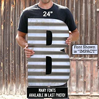 product image for Corrugated Metal Custom Letters Or Numbers Barn Tin Letters, Barn Tin Numbers, Barn Tin Signs, Rustic Letters, Metal Letters, Metal Signs, Rustic Decor, Rustic Wedding Decor, Monogram, MADE IN USA