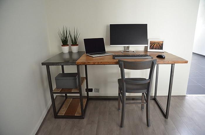 Bureau industriel en bois et métal amazon handmade