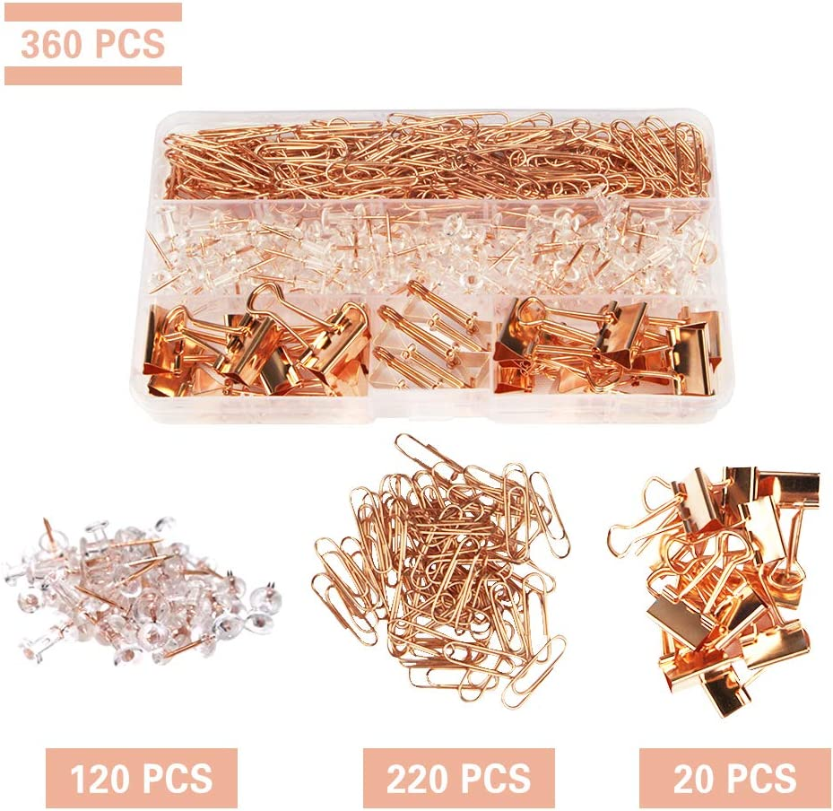 360 PCS Rose Gold Desk Accessory Push Pins Binder Clips Paper Clips Standard Size Office Supplies Kit Set with Storage Box(Large Pack)