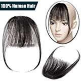 Clip in Hair Bangs Fringe with Hair Temples 100% Real Remy Human Hair Clip in Hair Extensions One Piece Hairpiece Striaght