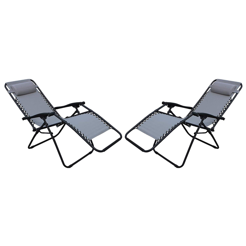 MilaniHome Set di 2 Sdraio da Giardino gravit/à Zero Pieghevoli con Struttura Nera E Textilene Grigio Chiaro per Campeggio Spiaggia Mare Piscina Giardino