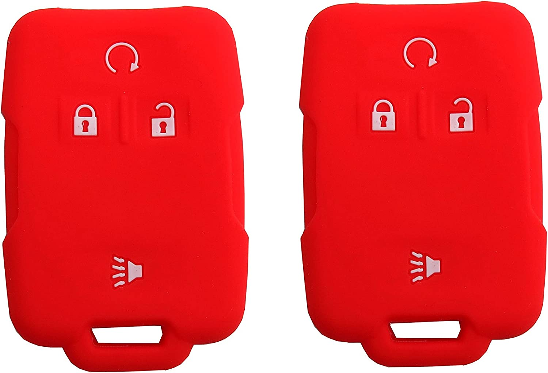 BAR Autotech Remote Key Silicone Rubber Keyless Entry Shell Case Fob and Key Cover fit for Chevrolet Silverado Colorado M3N32337100 13577770 13577771 GMC Sierra Yukon Cadillac 1 Pair Black+Blue