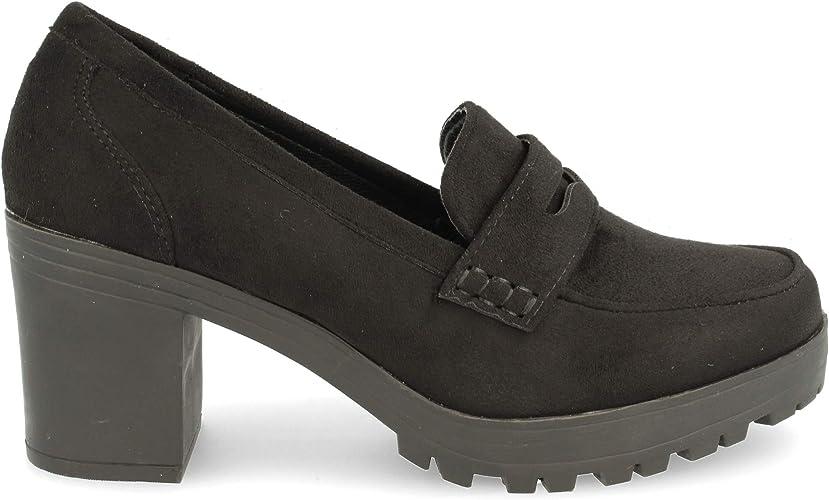 TALLA 41 EU. Zapato de tacón Cuadrado con Plataforma de Goma. Tipo mocasín con Antifaz. Altura de tacón: 7 cm. Altura de Plataforma: 3 cm.