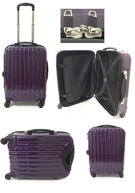 acc2cbd3d Smart Wheel Cabin Luggage Suitcase 4 Wheels Travel Bag Shell Shape Easy-jet  (Small 20'', Purple Bamboo): Amazon.co.uk: Luggage