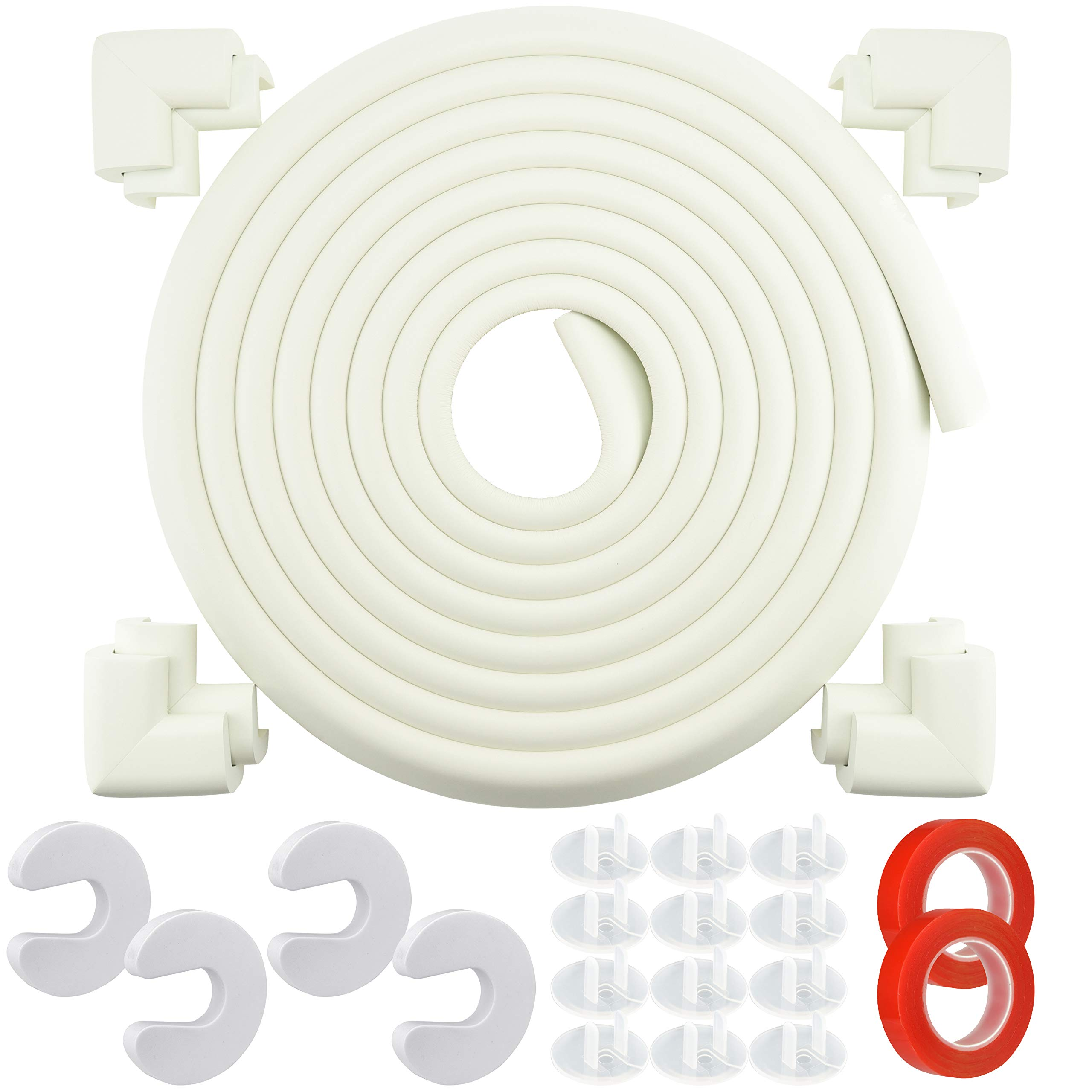 FiveSeasonStuff | Baby Proofing | Corner Protector Edge Guard | Child Safety Table Protectors | 17 ft Edge + 8 Corners [20 ft] | 4 Door Stoppers | 24 Outlet Plug Covers | 2 Acrylic Tapes | Cream White