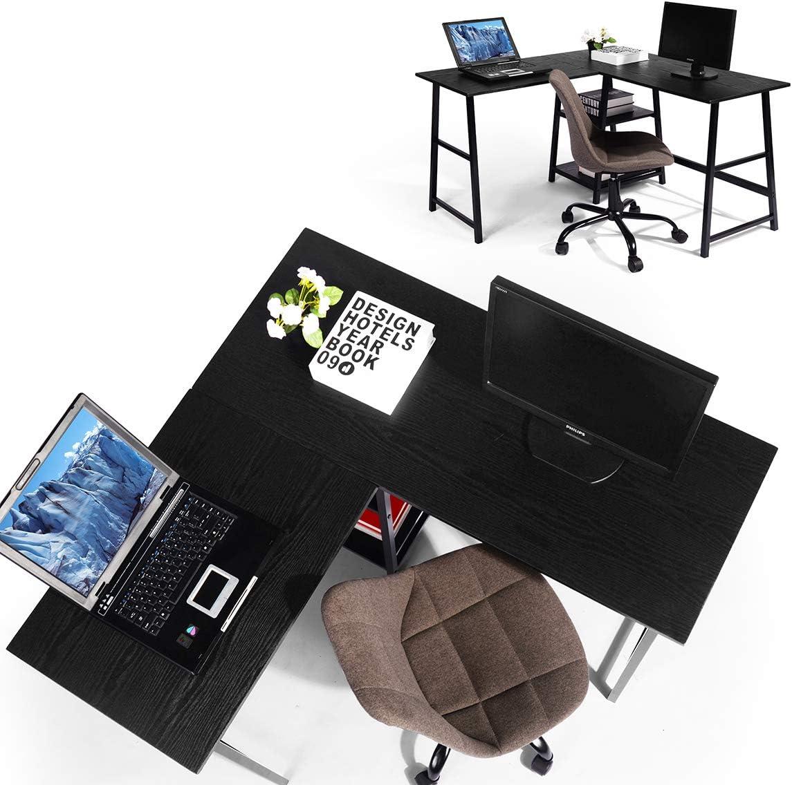 Bureau d'ordinateur avec tiroir Coin d'ordinateur, Coin en forme de L Ordinateur portable Ordinateur portable Bureau Table d'étude Poste de travail Console de jeu pour la maison et le bureau (Noir)