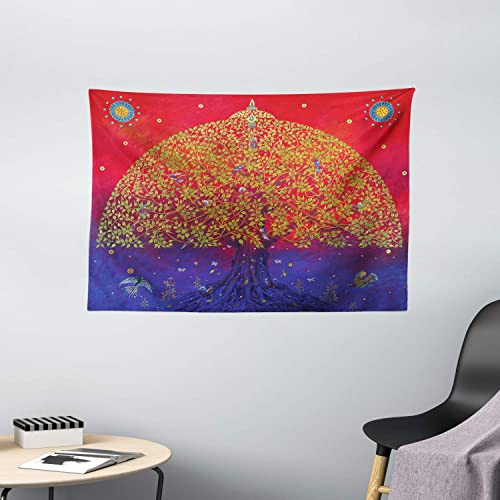 Ambesonne Ethnic Tapestry, Bodhi Tree of Life Themed Eastern Growth Artwork Print, Wide Wall Hanging for Bedroom Living Room Dorm, 60 X 40 , Scarlet Blue