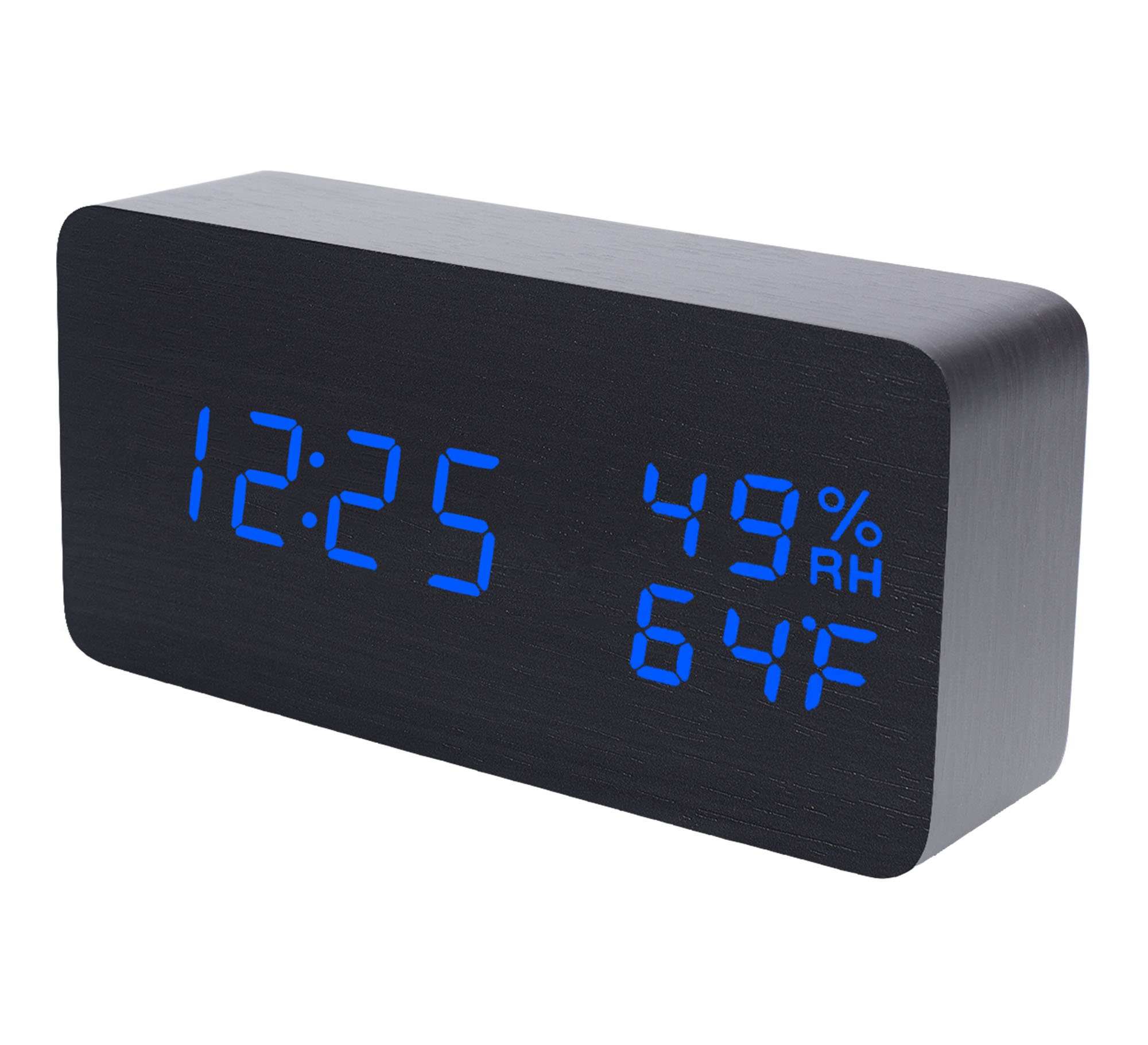 Raercodia Wooden Alarm Clock Modern Wood Clock Digital Electronic Desk Clock with Night Light LED Display Time Date Temperature Humidity Voice Control Brightness Adjust for Home Office (Black,Blue)