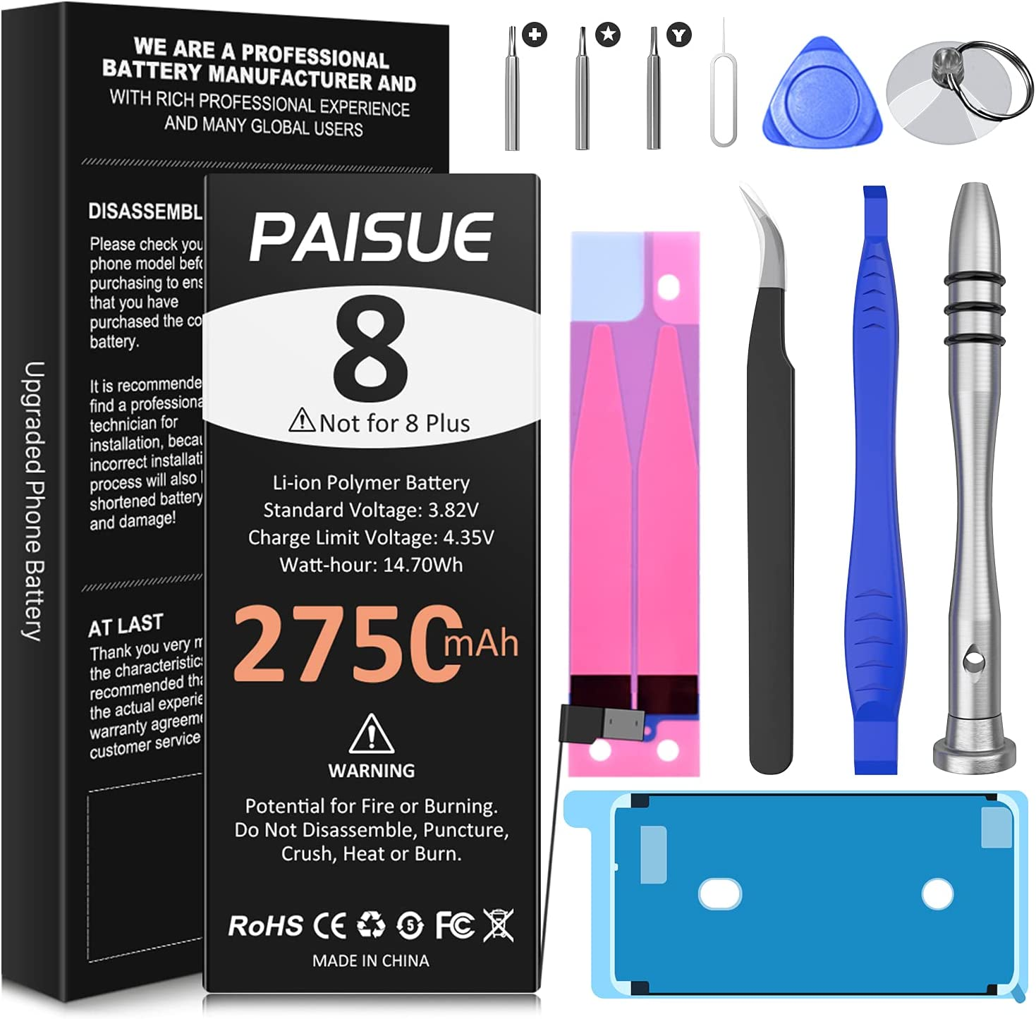 Battery for iPhone 8, Upgraded 2750mAh High Capacity Replacement Battery, New 0 Cycle Li-ion Battery for iPhone 8 Model A1863 A1905 A1906, with Complete Repair Tool Kit and Instruction