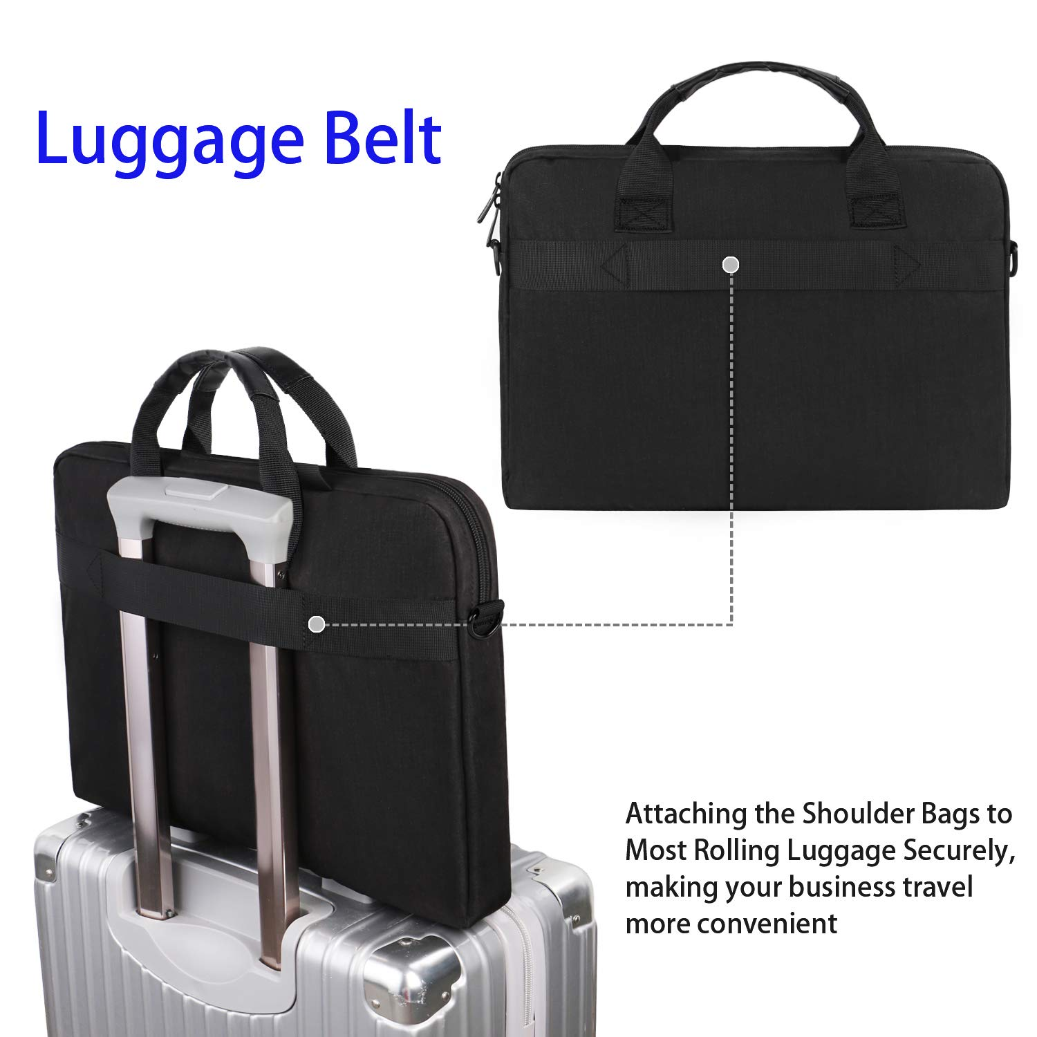 Taygeer Laptop Bag 15.6 inch, Slim Laptop Briefcase for Men Women, Business Portable Carrying Case Computer Shoulder Bag, Tablet Attache Compatible with HP Dell Lenovo Asus Microsoft Surface, Black by Taygeer (Image #3)