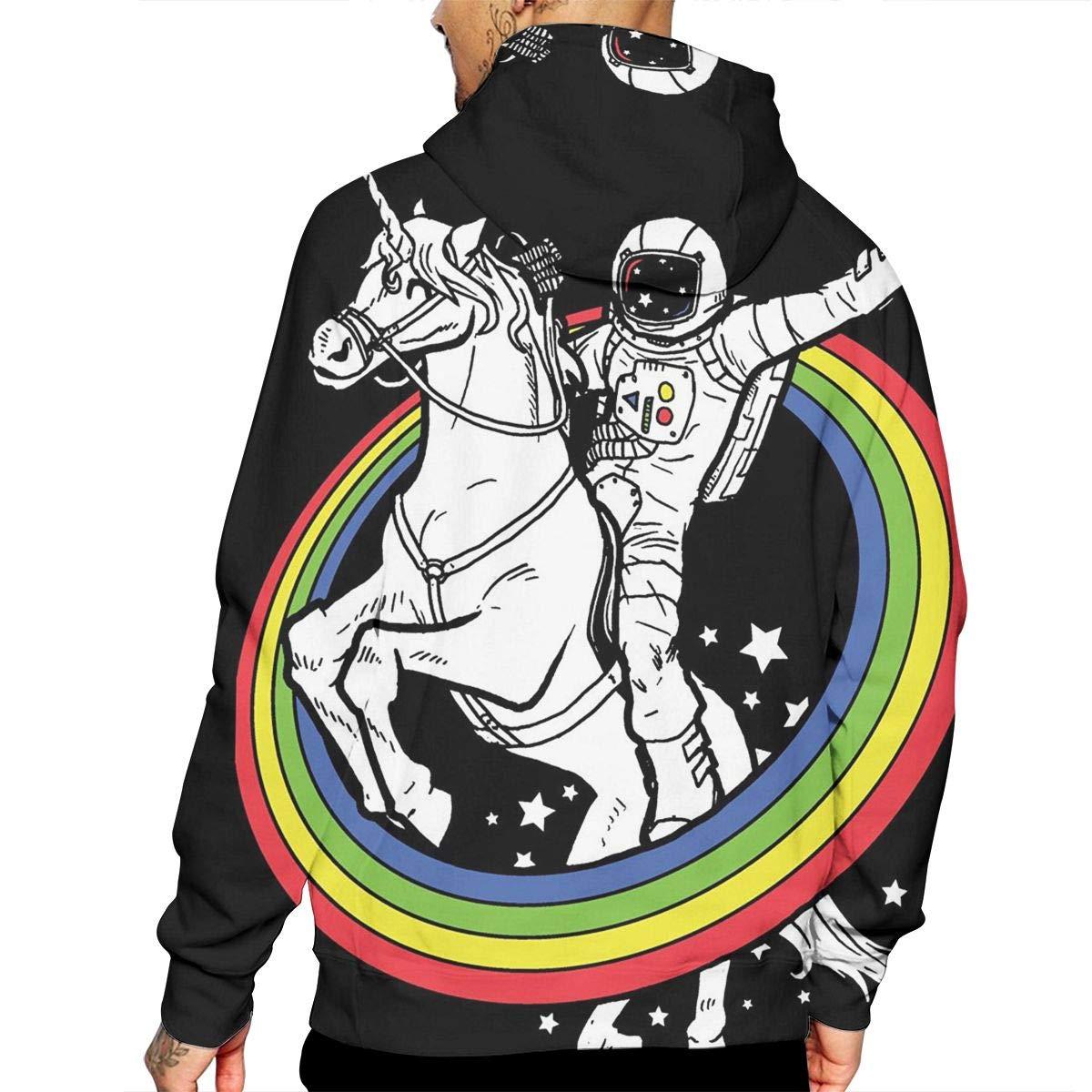 Unicorn Astronaut Mans Long Sleeve Hoodie Casual Pocket Hooded Sweatshirt