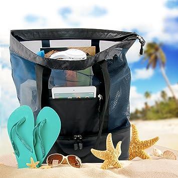 Amazon.com : Codream Mesh Beach Bag with Cooler Insulated Picnic ...