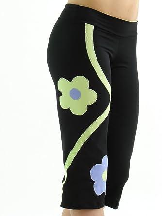 415fd073a5db0 Margarita - Designer Activewear - Avocado & Baby Blue Flower Capri - Small