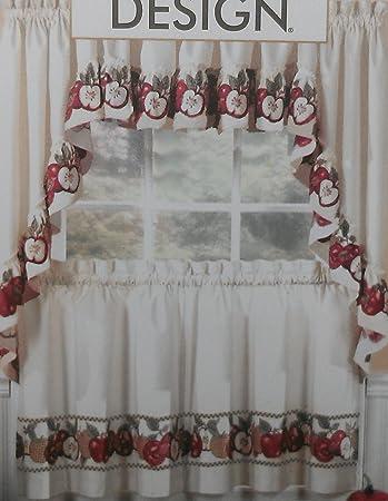 3pc Kitchen Cafe Apple Curtain Tier Swag Set Window Valance Decor