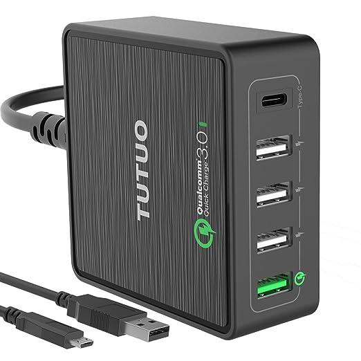 11 opinioni per TUTUO Caricabatterie USB da Tavolo Quick Charge 3.0 Caricatore Veloce 40W 5
