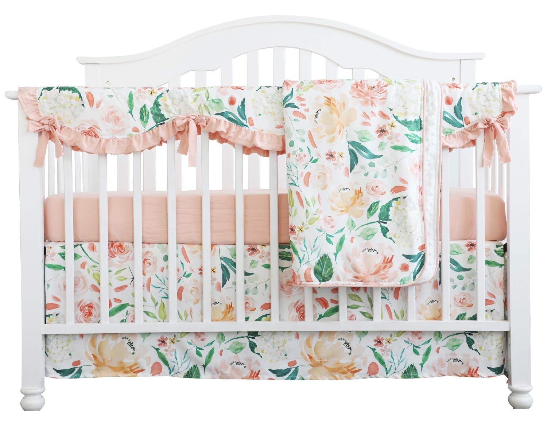 Crib Rail Guard Set Boho Floral Nursery Baby Bedding Ruffled Crib Skirt Crib Rail Cover Set (Ruffle Secret Garden)