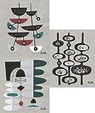 Swedish Dishcloths, Set of 3 Mid-century Modern Designs by Jenn Ski - (Black/Dark Turquoise on Grey)
