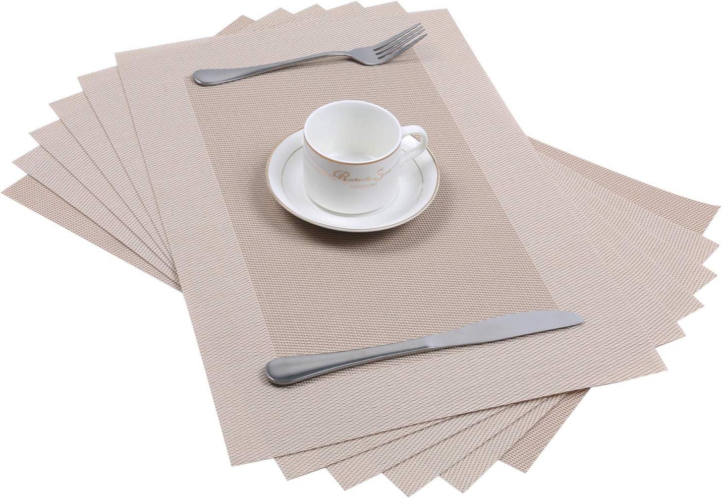 45*30cm Beige Pauwer Sets de Table antid/érapants r/ésistants /à la Chaleur Sets de Table lavables faciles /à Nettoyer Lot de 4
