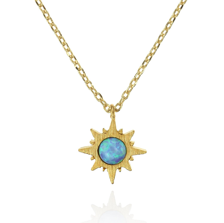 namana Sonnen Opal Anhänger mit Halskette, gebürstetes Finish 14 Karat vergoldete Sonnen Schmuck mit Opal, nickelfrei und bleifreie mit kleinem Sonnenaufgang-Anhänger Anakao Jewellery Ltd 20322