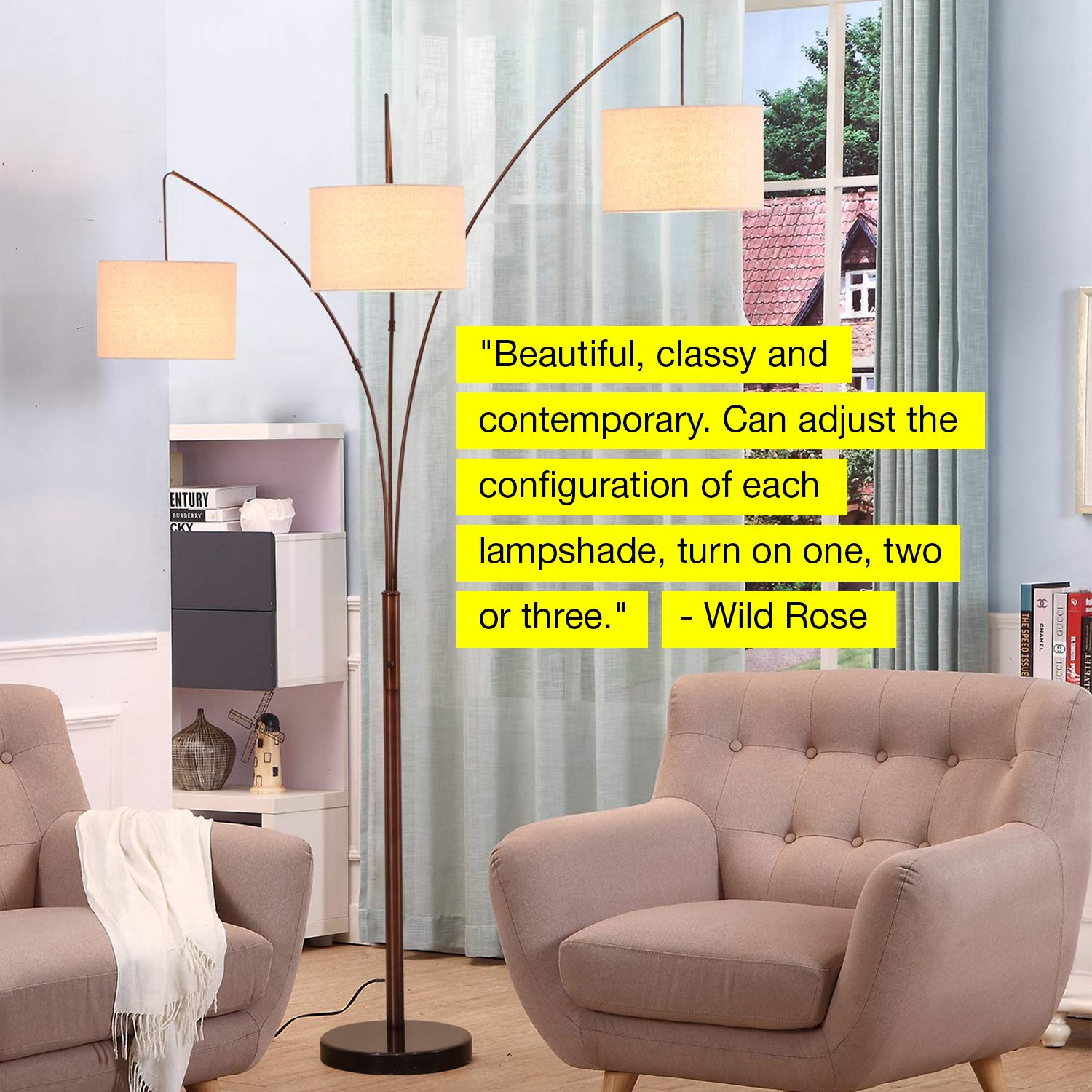 Brightech Trilage - Modern LED Arc Floor Lamp with Marble Base - Free Standing Behind The Couch Lamp for Living Room - 3 Hanging Lights, Great for Reading - Oil Rubbed Bronze by Brightech (Image #9)
