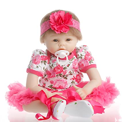 Buy Sany Doll Reborn Baby Doll Soft Silicone Vinyl 22inch 55cm Lovely  Lifelike Cute Baby Boy Girl Toy Beautiful Princess Dress Online at Low  Prices in India ... d929f9cff27c
