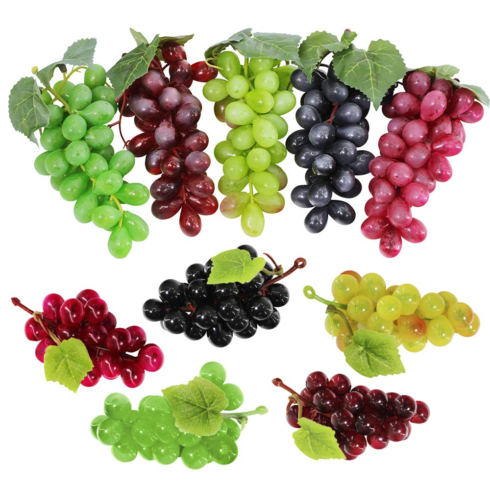 Supla 10 Pack Assorted Artificial Grapes Frosted Grape Clusters Decorative Grapes Bunches Rubber Grape Bundles in Black Purple Red Green for Vintage Wedding Favor Fruit Wine Décor Faux Fruit Props