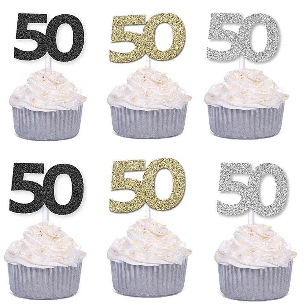 36pcs Golden Silver Black Number 50 Cupcake Toppers 50th Birthday Celebrating Party Decors