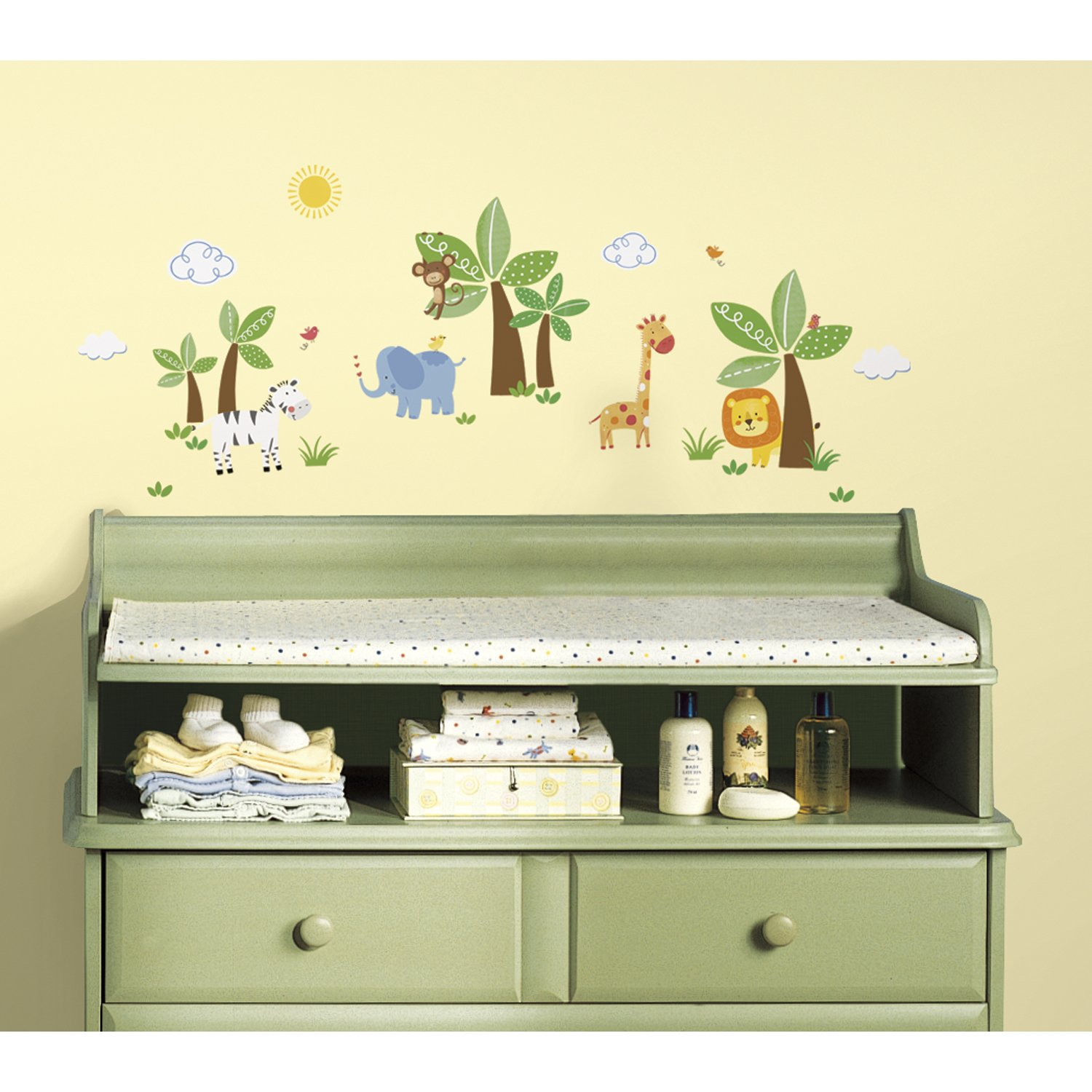 RoomMates RMK2635SCS Jungle Friends Peel and Stick Wall Decals ...