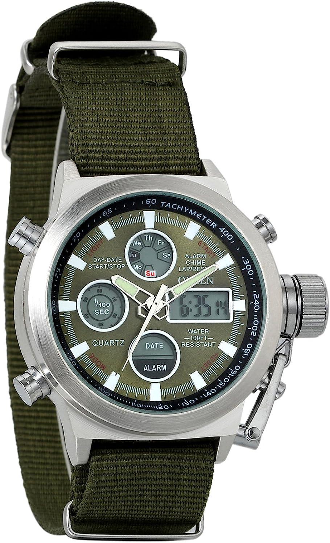 Reloj Avaner, para hombre, para deportes al aire libre, tiempo dual, luminoso, analógico y digital, de cuarzo