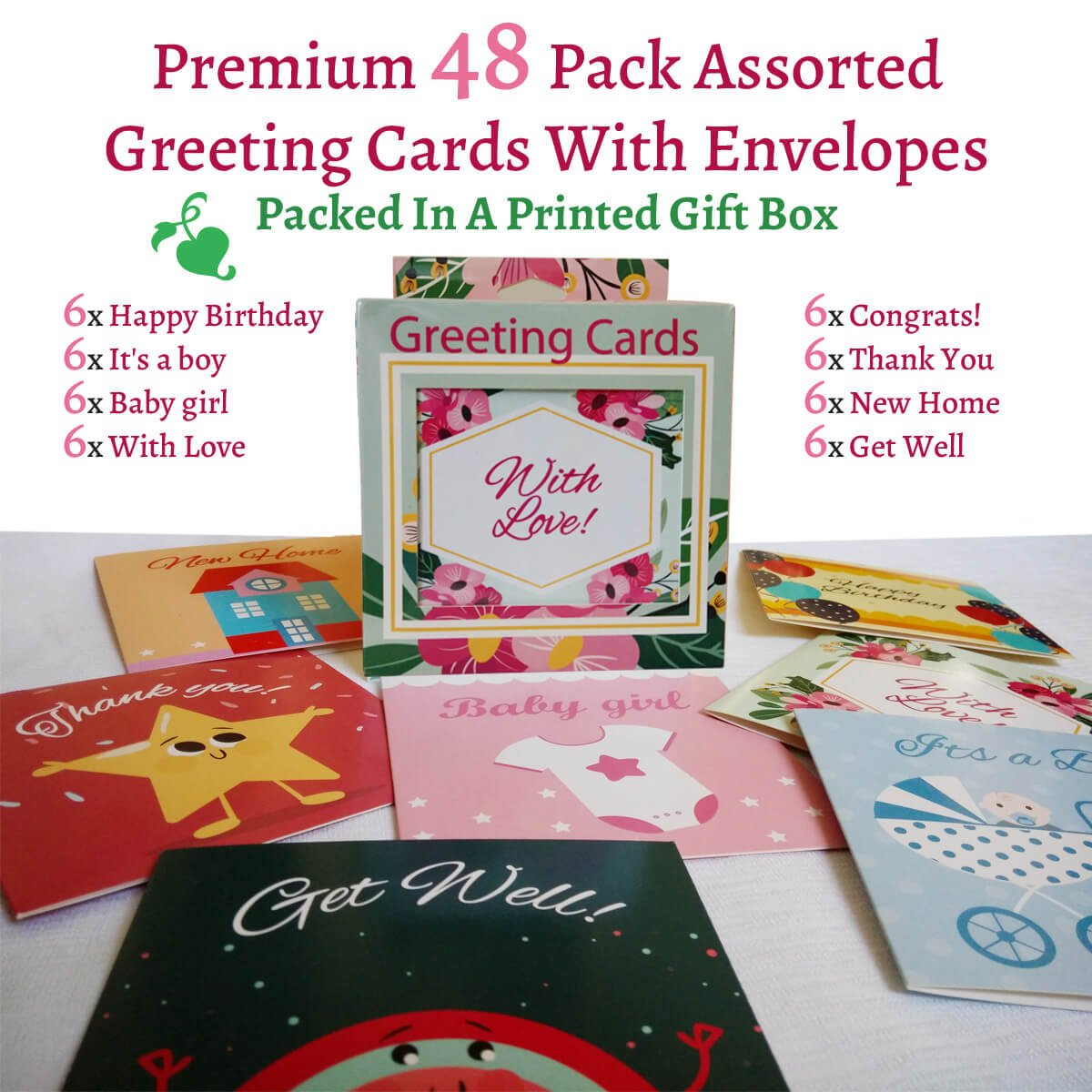 Amazon Premium Greeting Cards 48 Pack Assorted With Envelopes