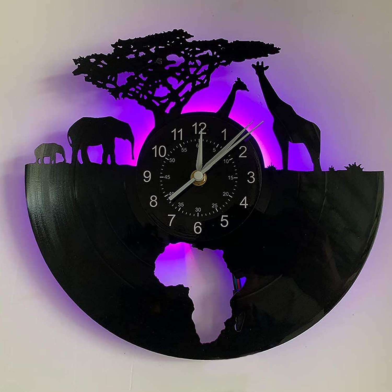 African Wildlife Wall Clock Giraffe, Elephant-Pattern|Led Light - Vinyl Records Clock Lamp Decoration for Living Room - DIY Safari Animals Lamp – Very Suitable for Children's Birthday Gifts