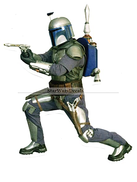 Mandalorian jango fett blaster bounty hunter helmet galactic empire star wars episode ii 2 removable wall