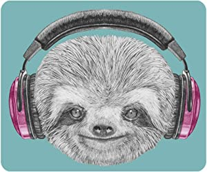 Nicokee Sloth Gaming Mouse Pad DJ Animal Portrait Headphones Funny Modern Character Cool Smiling Non-Slip Rubber Mouse Pad for Computers, Laptop, Office 9.5 Inch x 7.9 Inch