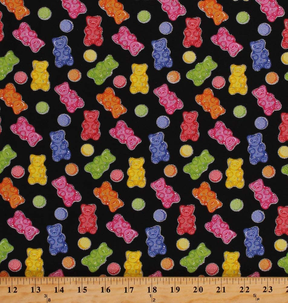 Cotton Gummy Bears Gumdrops Gummies Candy Candies Silver Glitter Food Sweets on Black Cotton Fabric Print by The Yard (D672.67)