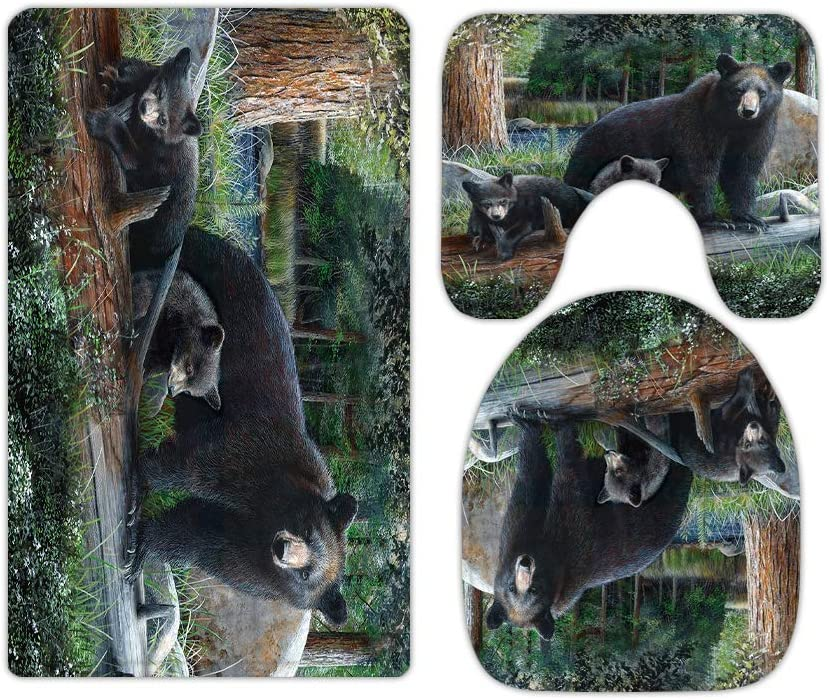 Black Bear Bathroom Rugs and Mats Sets 3 Piece, Memory Foam Bath Mat, U-Shaped Contour Shower Mat Non Slip Absorbent, Velvet Toilet Lid Cover Washable