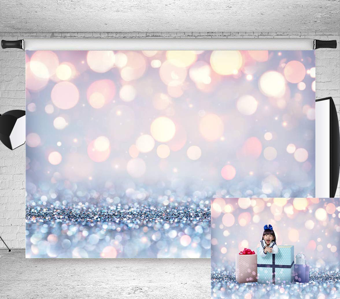 7x5ft Stylish Simplicity Bling Theme Bokeh (Not Glitter) Backdrop Dreamy Silvery White Spots Photography Background Baby Shower Birthday Carnival Party Newborn Children Portrait Photo BT-win0398-7x5FT by Botong