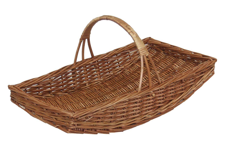 G0011 Oblong Wicker Willow Garden Trug Basket Strong Brown Medium