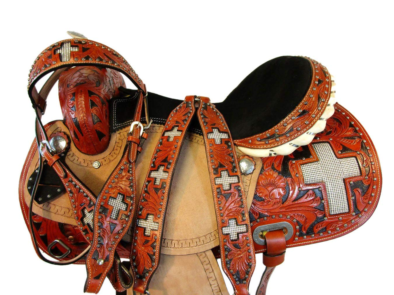 Orlov Hill Leather Co ウェスタンカウボーイ クロスショー プレジャー フローラル ツール ホース バレル レーシング サドル 15 16  15 Inch