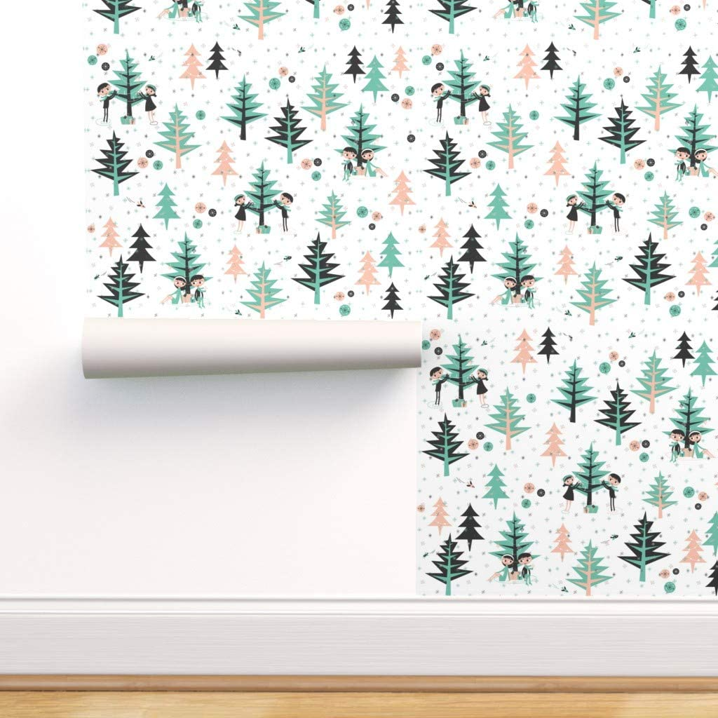 Spoonflower Peel And Stick Removable Wallpaper Evergreen Tree Forests Winter Trees Evergreens Boy Girl Vintage Nature Print Self Adhesive Wallpaper 12in X 24in Test Swatch Amazon Com