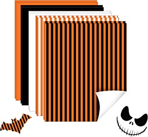 """Halloween Heat Transfer Vinyl Bundle - 10 Pack 12""""x10"""" Stripe HTV Vinyl for T-Shirts, 5 Assorted Colors Iron on Vinyl for Cricut and Silhouette, with One Teflon Sheet"""