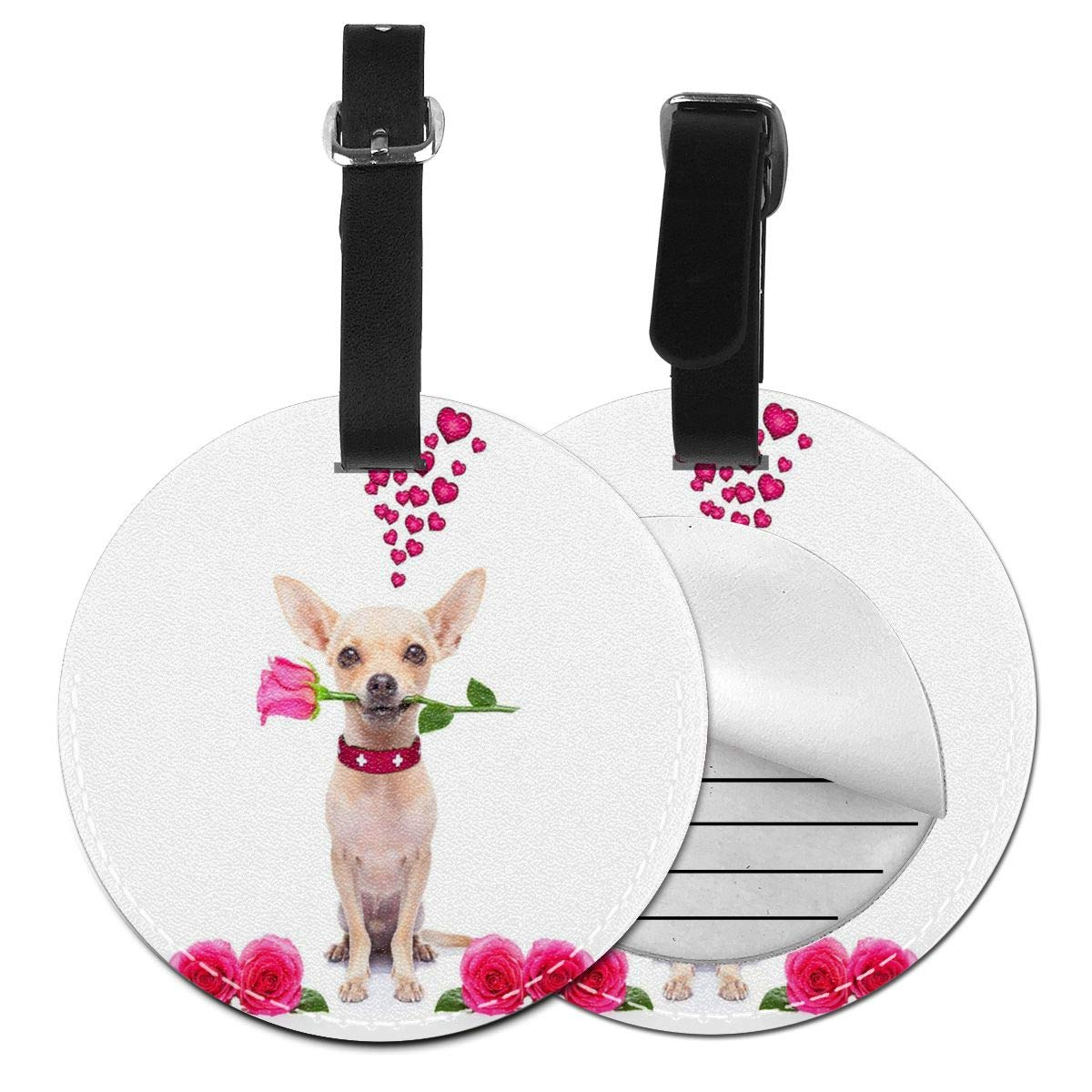 Fantastic Valentine Dog Luggage Baggage Travel Identifier ID Tags with Back Privacy Cover 4 Pack by Rachel Dora