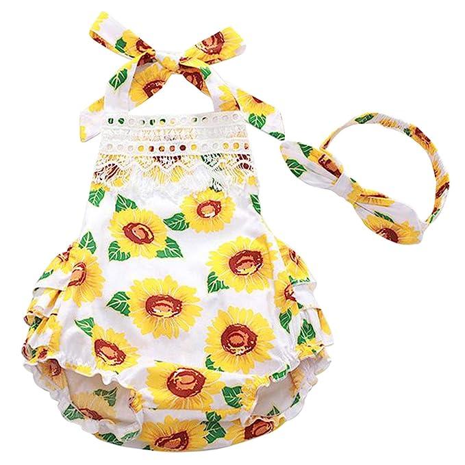 cc2346611ac8c Infant Baby Girls' Sunflower Print Sleeveless Halter Ruffled Romper Outfits  with Headband