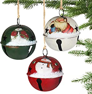 Partybus Christmas Tree Ornaments 6 Pack, Small Handmade Jingle Bells with Burlap Hanging String for Outdoor Holiday Home Decorations, Bulk Farmhouse Country Rustic Décor