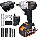 Juemel 20V 4Ah 2-Speed 1/2-in 1/4-in Chuck Cordless Impact Wrench