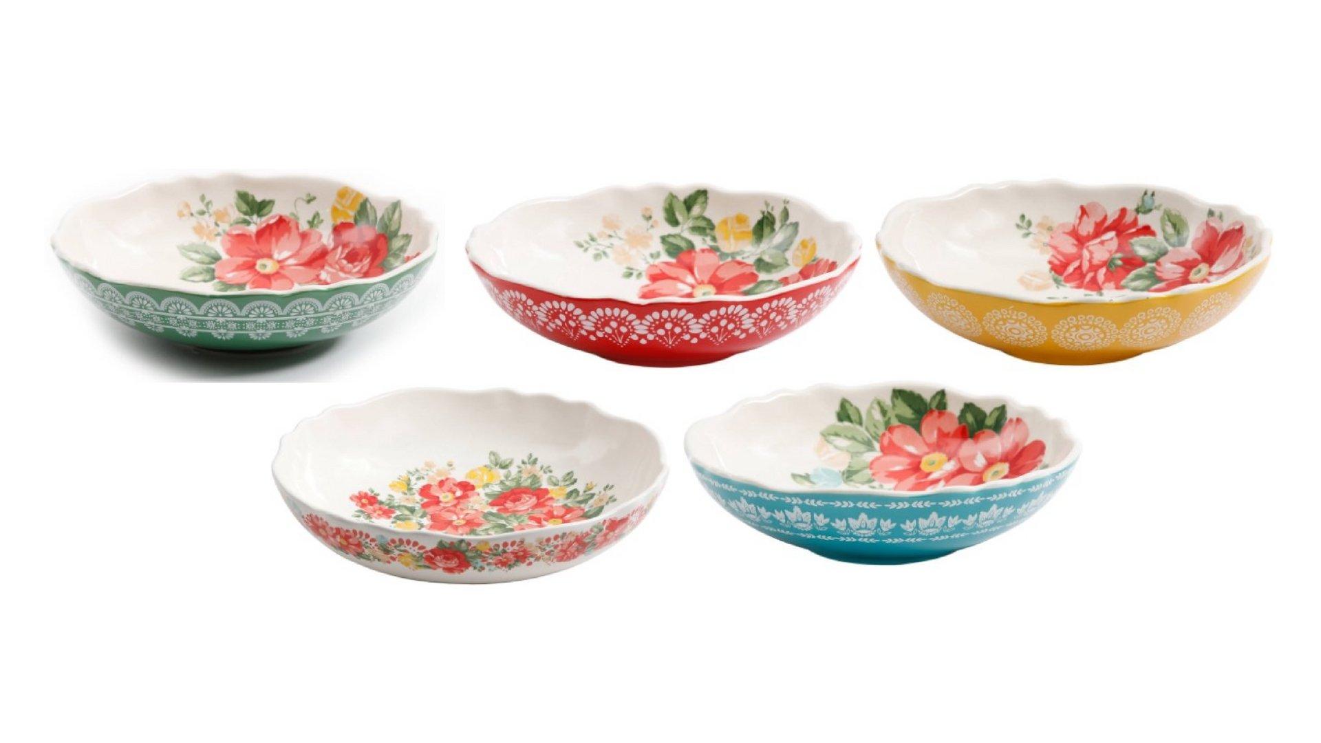 The Pioneer Woman Porcelain Round Vintage Floral 5-Piece Pasta Bowl Set