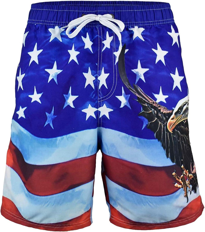 Men's American Flag Swim Trunks Board Shorts Patriotic with Bald Eagle Design